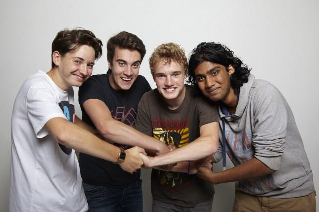 De filmploeg van Platform57: v.l.n.r. Eddy Rakovic, Romèk van Deursen, Pieter Wibaut en Arvind Choenni @2014 Johan Nieuwenhuize